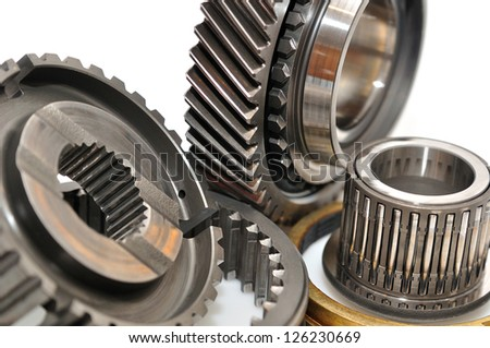 Car gearbox sprocket isolated on white background.