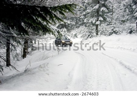 car going through the snowy forest