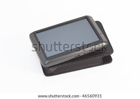 Car GPS navigator with cover isolated - stock photo