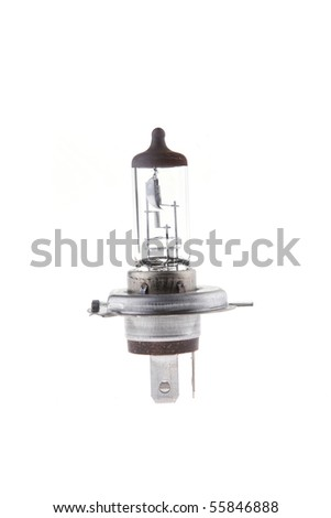 car headlight lamp isolated over white - stock photo