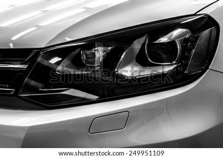 Car headlights. Exterior detail. - stock photo