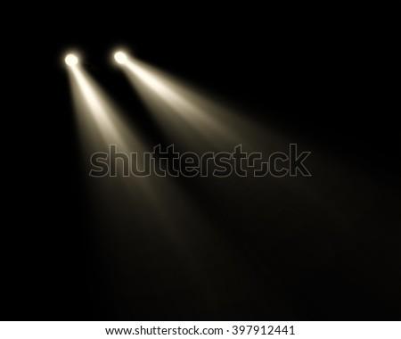 car headlights yellow ray beam isolated - stock photo