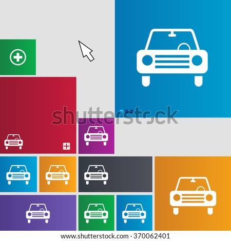 car icon sign. buttons. Modern interface website buttons with cursor pointer. illustration - stock photo