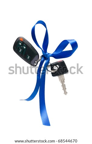 Car ignition key with security system, isolated on white - stock photo