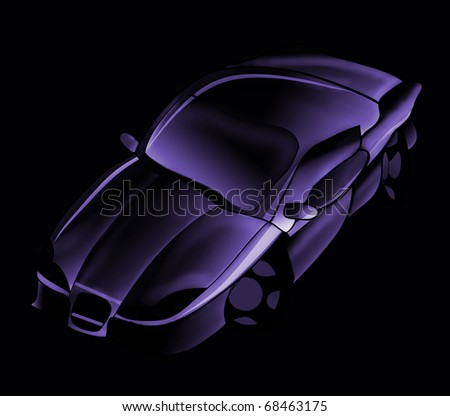 Car illustration on a black background - stock photo