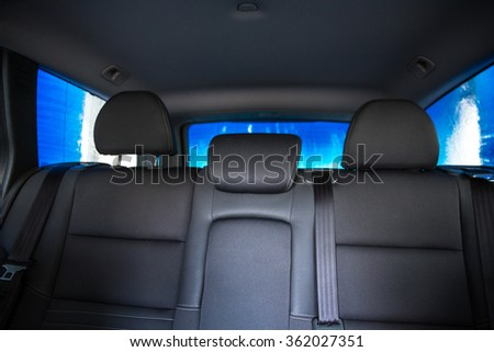Car in a carwash - view from the interior of the vehicle - stock photo