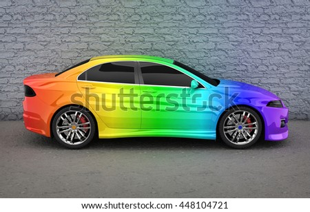Car in rainbow colors (done in 3d rendering)