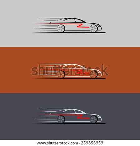 Car in the form of lines of silhouette, in movement. - stock photo