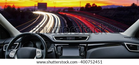 car in the road - stock photo