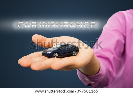 Car insurance ,agency holding model for show transport service and protection assurance. - stock photo