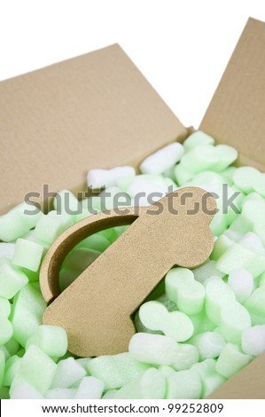car insurance, car protected inside box of foam packaging protection - stock photo