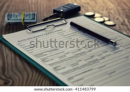 car insurance contract money - stock photo