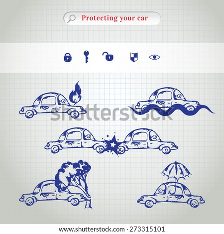 Car insurance icons set. Protection car illustration in doodle style. All object on a separate layers. Cartoon cars. Different situations of car crash - stock photo