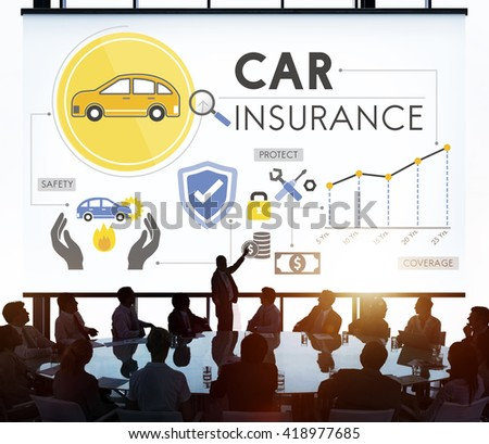 Car Insurance Policies Safety Coverage Concept - stock photo