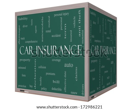 Car Insurance Word Cloud Concept on a 3D cube Blackboard with great terms such as auto, claims, coverage, bill and more. - stock photo