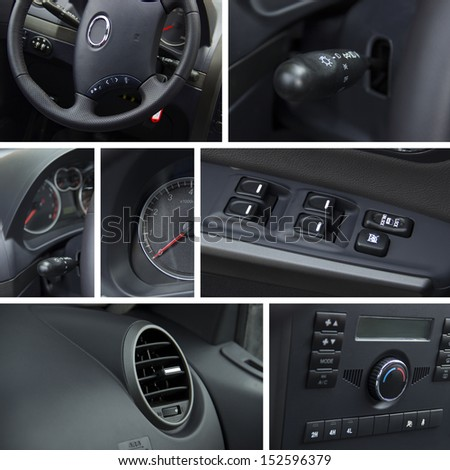 Car interior and dashboard collage - stock photo