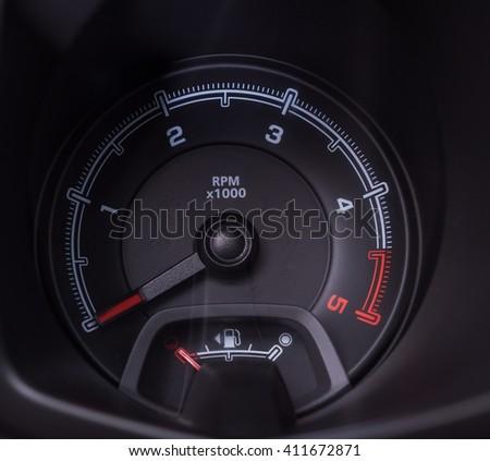 Car interior car speedometer control close up modern car - stock photo