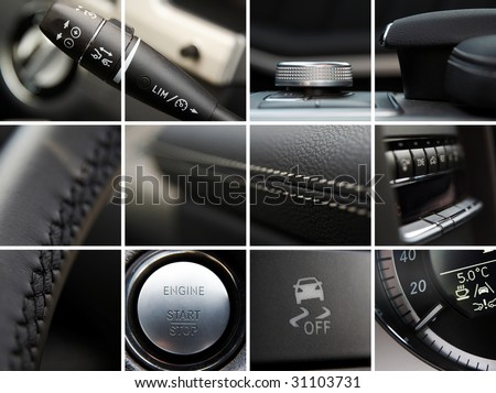 Car interior details collage - stock photo