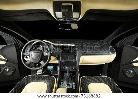 car interior, interior, steering wheel, dashboard - stock photo