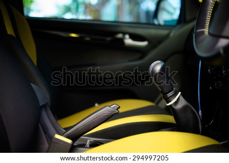 Car interior with back seats tone yellow and black