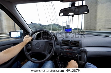 Car interior with car gps navigational system - stock photo