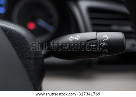 Car interior with turn signal switch,select focus