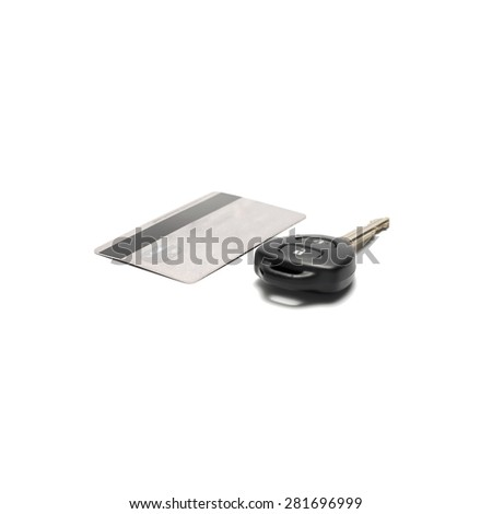 car key and credit card  isolated on white background - stock photo