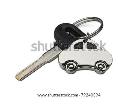 Car Key and key chain with the Car, isolated on white with clipping path. - stock photo