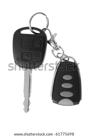 Car key and remote control isolated on white. - stock photo