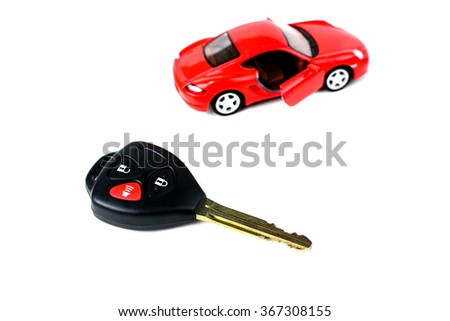 Car key and remote control isolated on white background