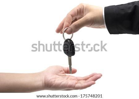 Car-key exchange ,isolated on white - stock photo