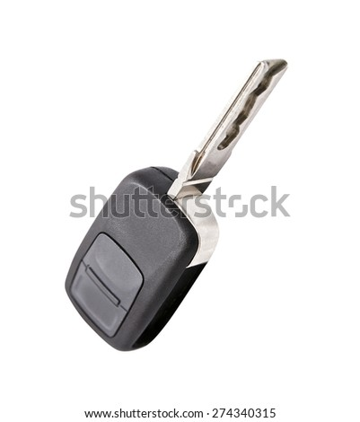 car key isolated on white - stock photo