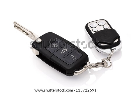 Car key isolated on white background - stock photo