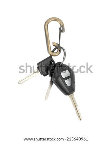 Car key isolated on white background - stock photo
