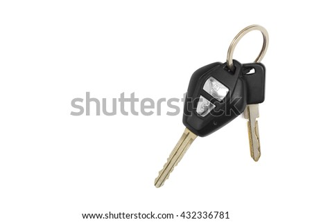 Car key isolated on white background with clipping path - stock photo