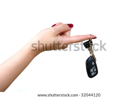 car key on a finger