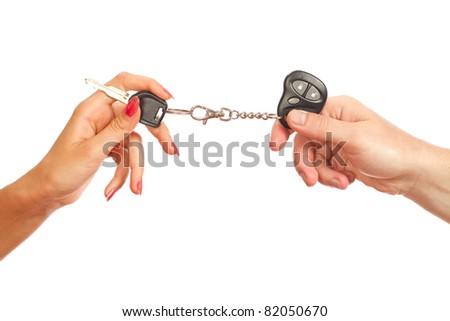 Car key on a white background - stock photo