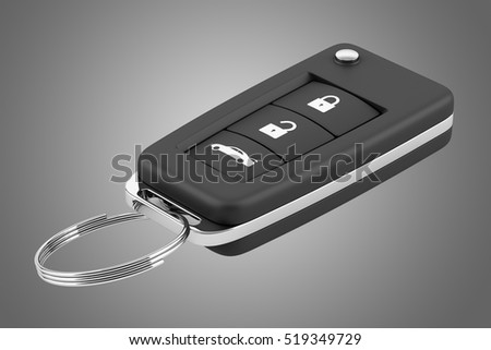 car key remote isolated on gray background. 3d illustration