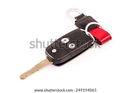 Car key remote isolated with white background, auto lock key - stock photo
