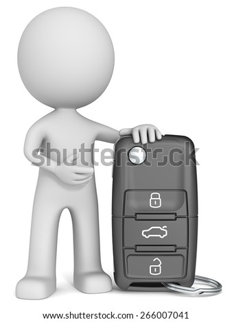 Car Key. The dude 3D character holding Car Key. - stock photo