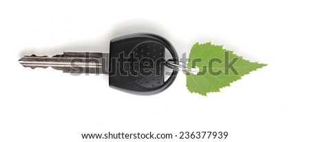 Car key with green leaf trinket isolated on white - stock photo
