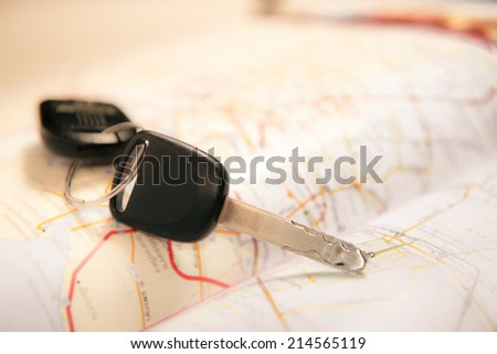 Car key with map - stock photo