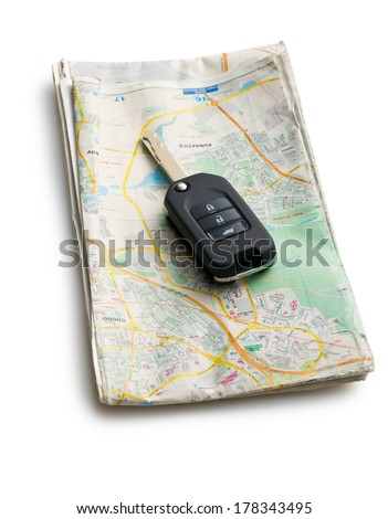 car key with map on white background - stock photo