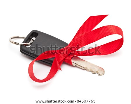 Car key with red bow as a present