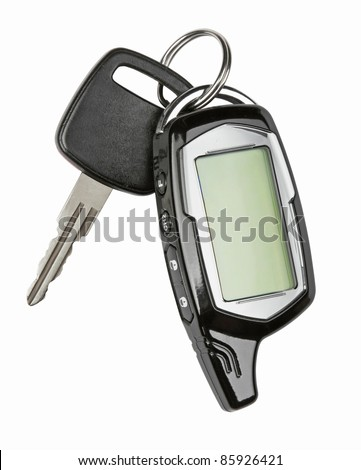 Car key with remote control, isolated over white background - stock photo