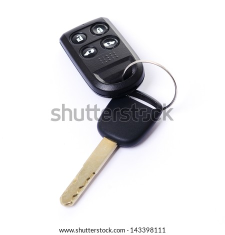 Car key with remote control on white background - stock photo