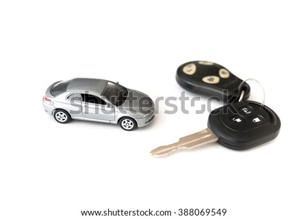 car key with remote control. white background - stock photo