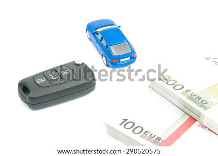 car keys, blue car and euro notes on white background - stock photo