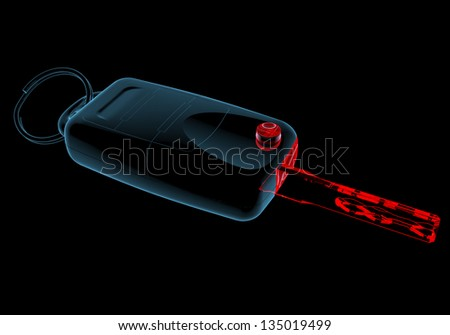 Car keys (3D xray red and blue transparent isolated on black background) - stock photo