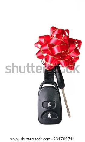 Car keys for Christmas on white background - stock photo